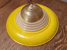 Vtg Art Deco YELLOW Atomic Spaceship Dome Clip-on Ceiling Lamp Shade