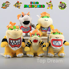 5X Super Mario Bowser King Koopa & Baby Bowser Jr. Plush Toy Soft Doll Teddy 8''