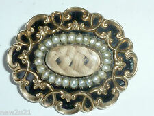 9 CARAT GOLD ENAMEL BROOCH LOCKET PENDANT VICTORIAN  PEARL MOURNING  DEAR MOTHER