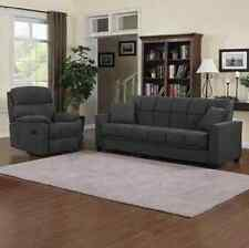 Gray Microfiber Sofa Futon Couch Bed & Recliner Chair Living Room Furniture Set