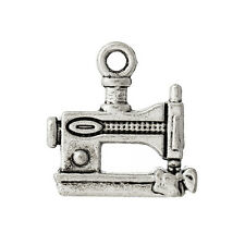 "2 PCs Charm Pendants Sewing Machine Antique Silver 15mmx15mm( 5/8""x5/8"") LC4455"