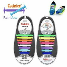 Original COOLNICE® Elastic Silicone NoTie Shoe Laces Trainers -ADULT RAINBOW 8+8