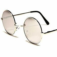 Silver Mirrored Old Vintage Retro Lennon Inspired 70s Hippie Round Sunglasses