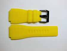 Replacement for Bell & Ross Watch Band Yellow Silicon Ion Steel Buckle 24mm BR1