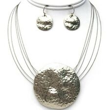Hammered MT Silver Shield Pendant 5 Wire Necklace Set