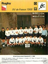 FICHE CARD:  XV de France contre l'Irlande 1968 16-6   Photo Equipe RUGBY 70s