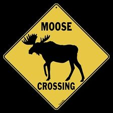 """MOOSE SILHOUETTE Crossing Sign, 12"""" by 12"""" on sides-16"""" on Diagonal-In/Out-Metal"""