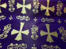 "PURPLE/GOLD  METALLIC  CHURCH BROCADE 60"" WIDE 1 YARD"