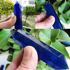 Hot 1pcs Natural Blue Smelt Quartz Crystal Double Point Terminated Wand Healing