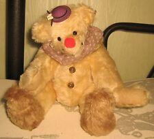 """JK BEARS Vermont Artist JILL KENNY 11"""" Wool Mohair CLOWN Bear w/ Original Tag"""