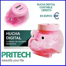 HUCHA DIGITAL CERDITO CONTABLE en EUROS pantalla LCD Suma monedas y da el total