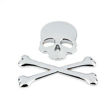 Chrome Motorcycle Car Tank Emblem Badge Decal Metal Sticker 3D Skull Bone Devil