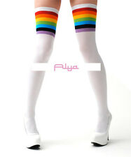 LA-6612 Sexy White Opaque Thigh High Stockings w/ Rainbow Stripe Top Hosiery
