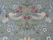 "WILLIAM MORRIS CURTAIN FABRIC ""Strawberry Thief"" 3.7 METRES SLATE & VELLUM"