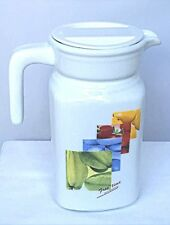 "Luminarc Juice Jug Pitcher w/White Lid Vegetables Design 6.25"" Tall."