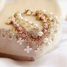 Womens Luxury Beautiful Four Leaf Clover Leather Rope Pearl Bracelet New