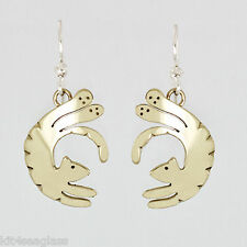 Far Fetched Tumbling Tiger Kitty CAT EARRINGS Alpaca Silver Mima Oly - Gift Box