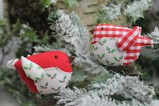 Gisela Graham Natale Tessuto Holly Red Gingham Clip on Robin Decorazione x 2
