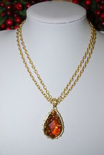 GEORGE DOUBLE GOLD TONED CHAIN NECKLACE WITH LARGE AMBER COLORED HANGING PENDANT