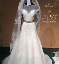 PRONOVIAS long sleeve lace A-line wedding dress style Blanche NWT, crystal belt