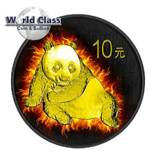 2015 1 oz  Chinese Silver Burning Panda Coin Black Ruthenium 24k