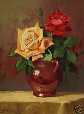 "Pittore Dino Paravano(Roma 1935)oil on board "" Vase With Roses""  Johannesburg"