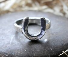 Hand Made HORSESHOE LUCKY HORSE SHOE RING Sterling Solid Silver LONDON HALLMARK