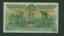 888 Serial Bank of Ireland £ 1 pound Ploughman VF RARE 7-7-1938 Irish Eire Punt
