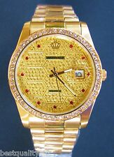 NEW REGINALD GOLD TONE S/STEEL BAND WATERPROOF+DATE PAVE DIAL CLASSIC WATCH
