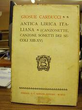 GIOSUE CARDUCCI - ANTICA LIRICA ITALIANA - SANSONI - X19