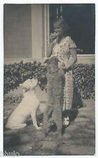 BM483 Carte Photo vintage card RPPC Femme Grand chien dog montagne des Pyrénéens