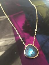 NWT Cole Haan Gold Tone Genuine Semi-Precious Stone Pendant Chain Link Necklace