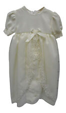 Pequilino Baby Christening Gown With Bonnet Ivory - 6/12 Months