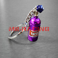 Purple Chrome Oxide Nitrous Pill Stash Box Auto Racing Parts Keychain Keyring