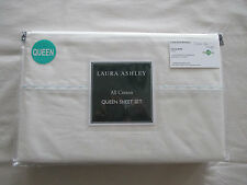 NEW Laura Ashley Queen Sheet Set Soft Blue Embroidered Trim on White