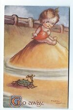 "Artist signed   Flora White   "" GO AWAY""  Delightful colour print postcard."