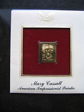 MARY CASSATT PAINTER 22kt Gold Stamp Replica FDI FDC Golden Cover