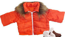 DISCONTINUED For American Girl Dolls Orange Coat Jacket Fur Trim Doll Clothes