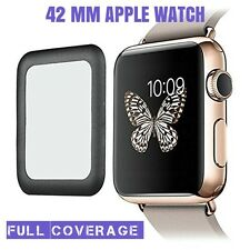 GENUINE FULL COVERAGE TEMPERED GLASS SCREEN PROTECTOR FOR APPLE WATCH 42MM BLACK