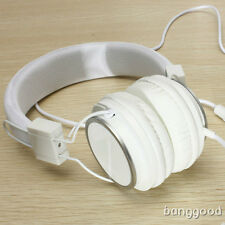 BIANCO REGOLABILE OVER-EAR CUFFIA AURICOLARI 3.5mm W/MIC PER IPOD PC CELLULARE