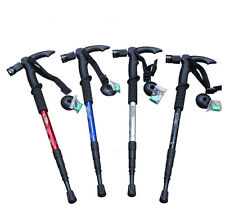 Compass + 9LEDs Light Hiking Trekking Anti Shock Walking Stick Pole Retractable