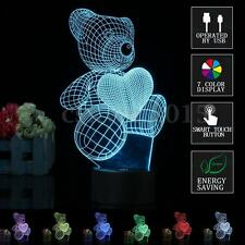 3D LED 7 COLORE CAMBIA LUCE NOTTURNA SCRIVANIA LAMPADE FORMA USB AMORE ORSO NEW