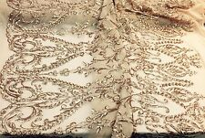Matte Gold Royalty Design Embroider With Sequins On A 2 Way Stretch Mesh -yard
