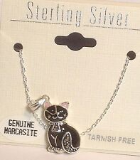 """Vintage New Sterling Silver/Marcasite Cat w/Pink Ears Pendant/Necklace 16"""" Chain"""