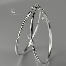 18K GOLD GF HOOP EARRINGS Round Extra Large Solid WOMENS 75MM XXL