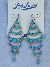 Lucky Brand Silver Tone Turquoise Bead Chandelier Earrings NWT