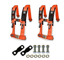"Pro Armor 4 Point Harness 2"" Pads Seat Belt Pair With Mount Kit Orange YXZ 1000R"