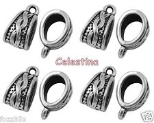 10 Antique Silver Charm Holders Bail Beads Bead Hanger Links 14mm LF NF CF