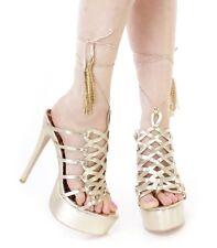 Gold Lace Up High Heel Platform Sandals Gladiator Stiletto Stripper Heel Size 11