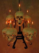Two Tiered 9 Skull Chandelier, Halloween Prop, Skeletons/Skulls, NEW
